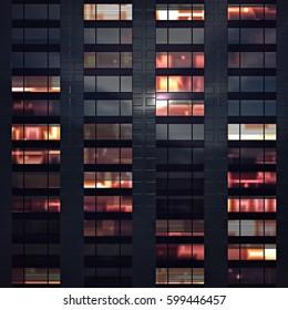 Illustration Modern Building Office Windows Night Stock ...