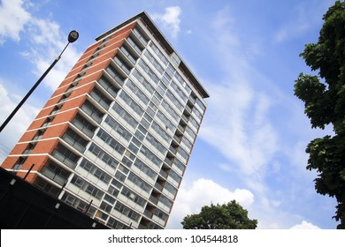 block of old council flats in london england