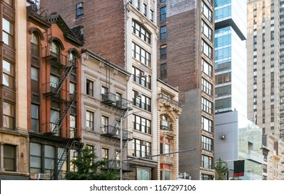 Block of old historic buildings along 23rd Street in Manhattan New York City NYC
