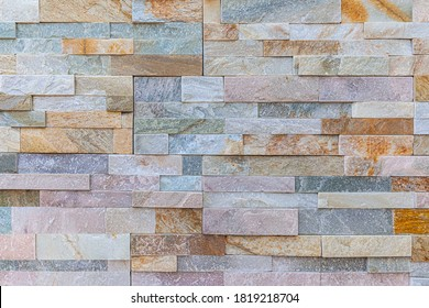 Block pattern of stone cladding wall tile texture and seamless background