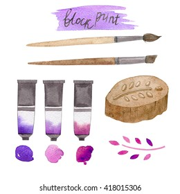 Block print painted with watercolors on white background. Brush. Paint. Instrument. Hand made