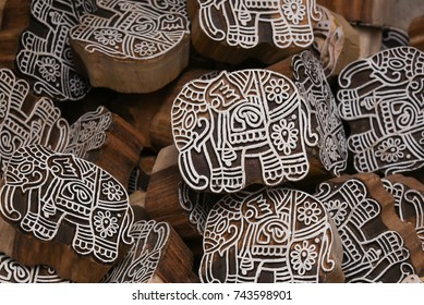 Block Printing for Textile in India. decorated elephant Traditional Handicrafts shape used for wood block printing by hand on linen, cotton or silk to create a pattern Rajasthan, North India.