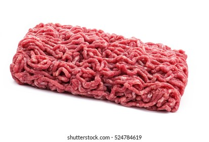 block of raw mince beef on a white isolated background
