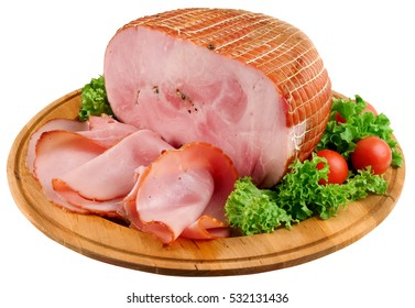 Block of smocked ham and  slices served in wooden dish.Clipping path.