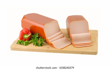 Block of smocked turkey on wooden board. Clipping path.