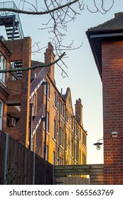 A block of traditional luxury flats in london during the sunset.