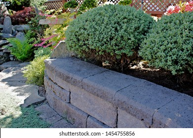 Block wall with wall caps part of a landscape garden design mature shrubs in topiary shape trimmed texture background