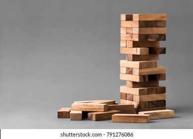 block wooden game on gray background