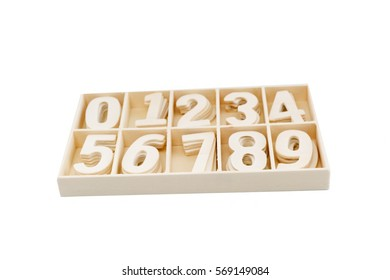 Block wooden number texture isolated over white background