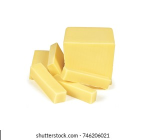 block yellow cheese slices on white background
