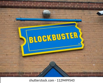 Blockbuster sign on wall