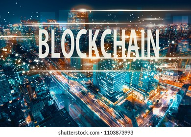 Blockchain with aerial view of Tokyo, Japan at night
