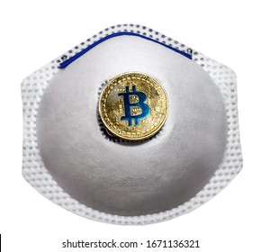 Blockchain Bitcoin Flu hygiene medical face protection respiratory mask isolated on background. Hospital or pollution protect face masking.