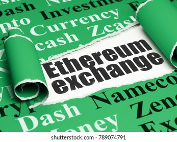 Blockchain concept: black text Ethereum Exchange under the curled piece of Green torn paper with  Tag Cloud, 3D rendering