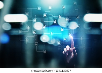 Blockchain cryptography technology, fintech and internet concept on virtual screen.