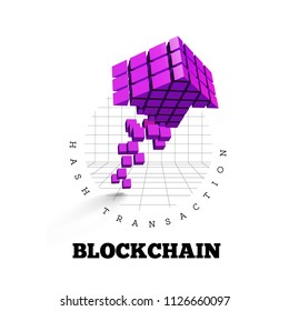 Blockchain illustration in the form of cubes in the form of an arrow. Block chain design. The concept of information transfer