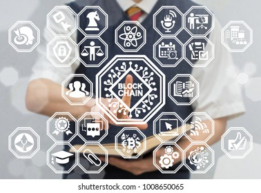 Blockchain Microchips Information Learning Technology. Young man using virtual touchscreen presses semiconductor blockchain button. Block Chain Educational concept.