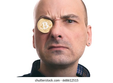 blockchain mining. Portrait of a man with bitcoin coin. Isolated