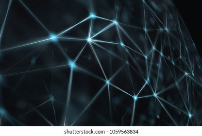 Blockchain network - Abstract connected dots on bright blue background. Internet connection, abstract sense of science and technology graphic design.