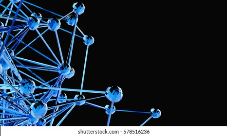 Blockchain network , Machine learning , deep learning and neural networks concept. Stylish abstract engineering, technology and science. Blue Distributed connection atom. 3d rendering , Copy space