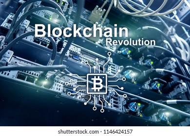 Blockchain revolution, innovation technology in modern business.