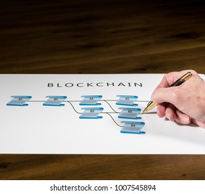 Blockchain schematic on printout on desk with senior technology executive pointing at one of the encrypted blocks of blockchain
