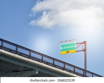 Blockchain signal on highway road sign