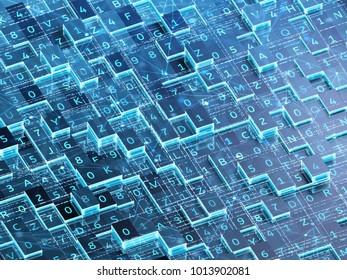 Blockchain technology concept. 3d illustration.