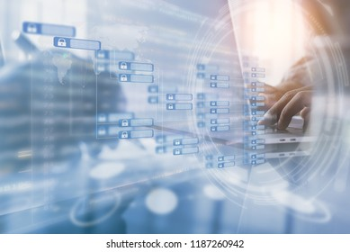 Blockchain technology concept with chain diagram interface. Double exposure of businessman working on laptop computer, software developing and  modern tech on virtual screen