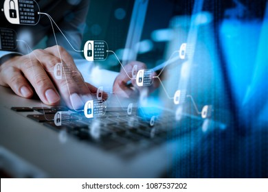 Blockchain technology concept with diagram of chain and encrypted blocks. designer hand working and smart phone and laptop on wooden desk in office