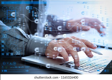 Blockchain technology concept with diagram of chain and encrypted blocks.businessman working with mobile phone and stylus pen and laptop computer  on wooden desk in modern office