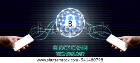 Blockchain technology concept, Two businessman holding smartphone and virtual system diagram bitcoin protection and binary background.