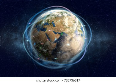 Blockchain technology. Global information network of the planet earth. Financial and communication security. Elements of this image furnished by NASA