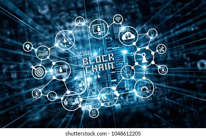 Blockchain technology and network concept. Text and icon communication connection on motherboard microcircuit fast speed background.