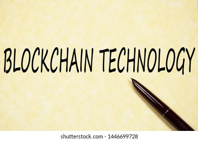 BlockChain technology text write on paper