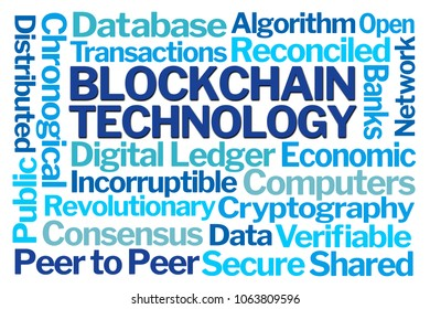 Blockchain Technology Word Cloud on Blue Background