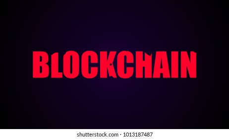 Blockchain text. Abstract background. Digital 3d rendering