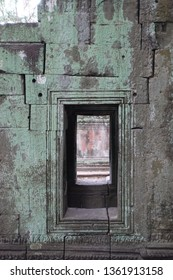 Blocked and inaccessible door, way through a ancient temple. Abandoned and forsaken. In the jungle of cambodia, close to the tmples of angkor wat.