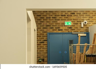 Blocked School Emergency Exit with Exit Sign