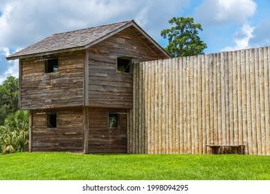 A blockhouse fortification at Fort King National Historic Landmark - Ocala, Florida, USA
