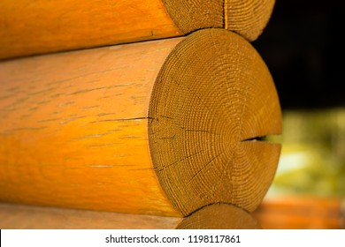 Blockhouse wooden logs closeup background