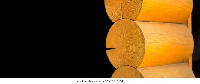 Blockhouse wooden logs postcard banner background