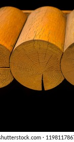 Blockhouse wooden logs vertical postcard banner background