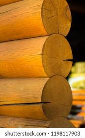 Blockhouse wooden logs vertical postcard background