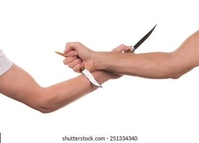 Blocking arms with a knife. Isolated on a white background.