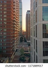 Blocks of buildings, Boston, Massachusetts at dusk