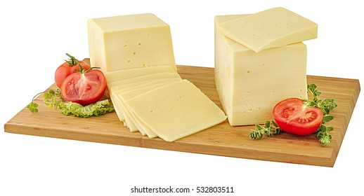 Blocks of edam cheese on wooden board.Clipping path.