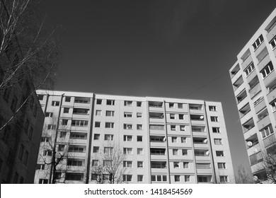 Blocks of flats in the suburbia. Salzburg city, district Lehen, Austria, Europe.