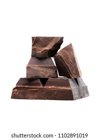 Blocks and pieces  dark chocolate on a white background