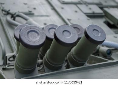 blocks of smoke grenades on turret of main battle tank